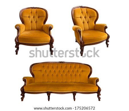 set of yellow furniture, isolated on white