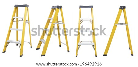 set of yellow Ladder  isolated on white