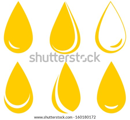 set of yellow oil drops on white background - stock photo