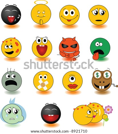Set of yellow smileys. Vector illustration. See other set in my portfolio