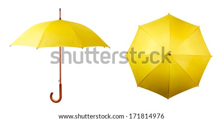 Set of yellow umbrellas isolated on white background - stock photo