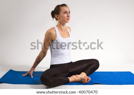 set of young attractive yoga girl doing exercise. 21 of 116 - stock photo