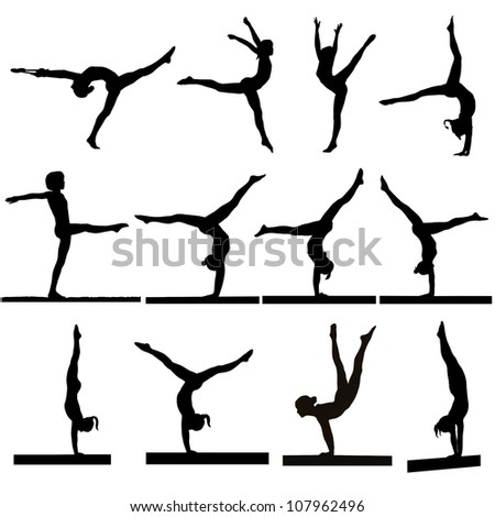 Set of young gymnasts girls silhouettes in exercises and in balance on beam.