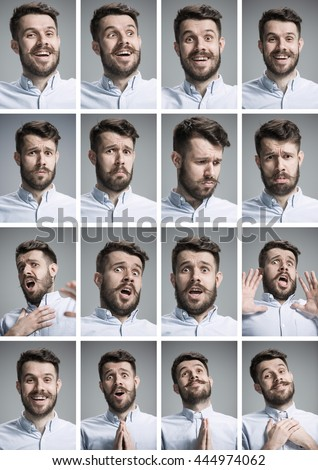 Set of young man's portraits with different emotions