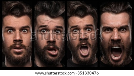 Set of young man's portraits with different emotions on black background - stock photo