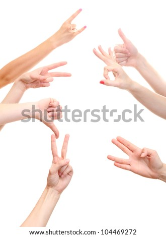 set of young people's hands isolated on white