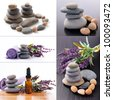 Set of zen stones and aromatherapy - stock photo