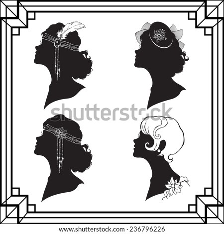 Set off the girl`s silhouette in retro style isolated on white background - stock photo