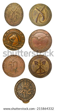 Set old Austro-Hungarian military badges proficiency specialist - stock photo