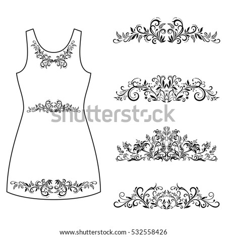 Set Outline Floral Patterns, Symbolical Flowers and Butterflies Black Contours Isolated on White Background, Element for Design, Prints and Banners For the Example Presented in a Female Dress