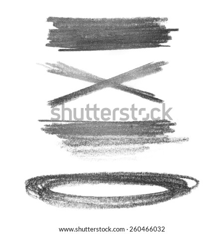 set photo grunge strokes graphite pencil texture isolated on white background - stock photo