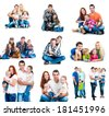 set photos of a happy smiling families with their dogs  isolated on white background - stock photo