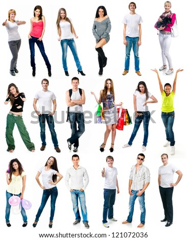 set photos of a young people smiling over white background
