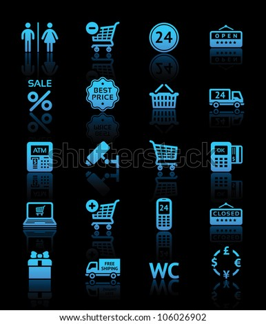 Set pictogram supermarket services, Shopping blue icons. Eps version also available in my image gallery - stock photo