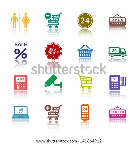 Set pictogram supermarket services, Shopping colored icons. Vector version (eps) also available in gallery