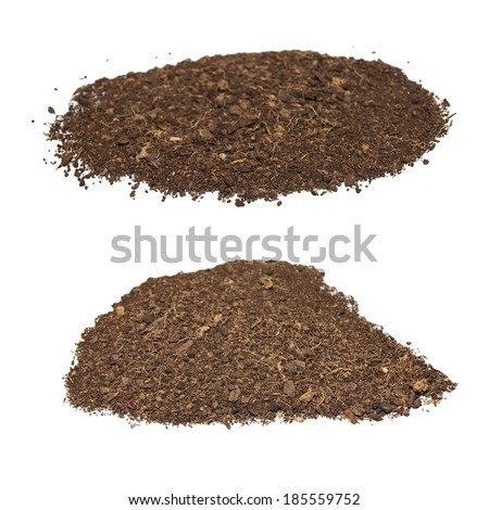 set pile dirt isolated on white background with clipping path