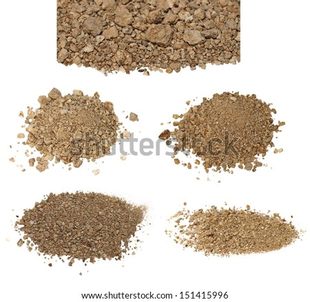 set pile dry dirt isolated on white background with clipping path, (high resolution) - stock photo