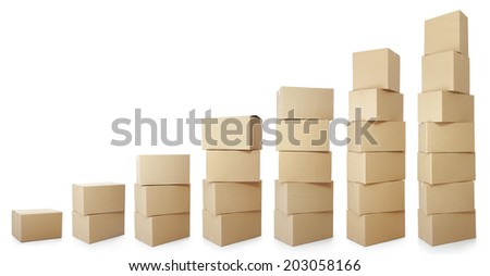 set piles of cardboard boxes on a white background - stock photo
