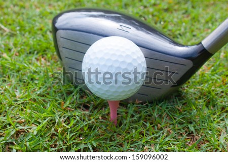set play golf in driver on tee off ,sport - stock photo
