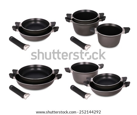 Set pots and pans, saucepan on white background - stock photo