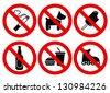 Set prohibited signs. Supermarket symbols - stock vector