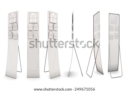 Set promotional stands isolate on white background. 3d illustration. - stock photo