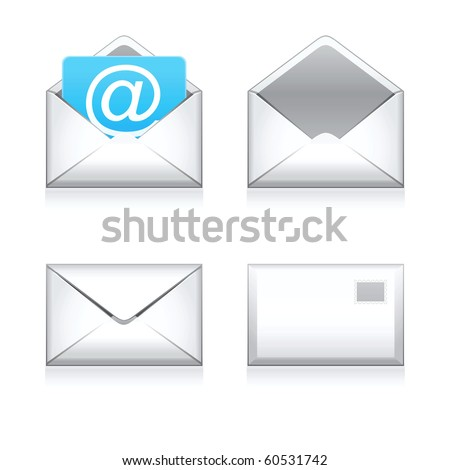 Set raster e mail icon - stock photo