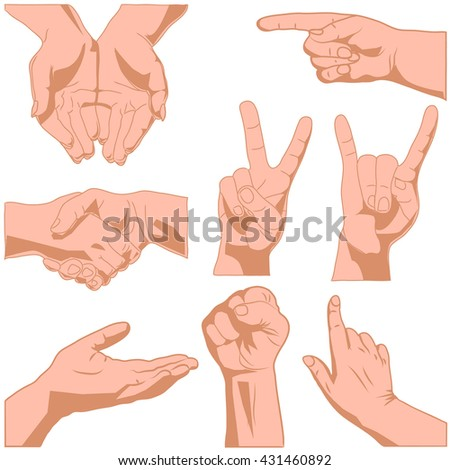 Set raster illustrations pack of  hands isolated on white background in various gestures
