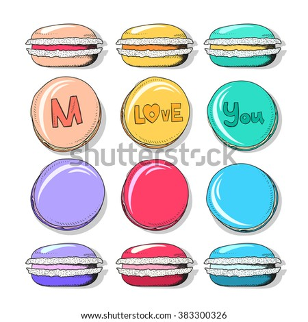 Set realistic sketch macaroon. Sweets for design. Confectionery. Sweets handmade to create a design. Sweets for children. Bright macaroon set in sketch style.
