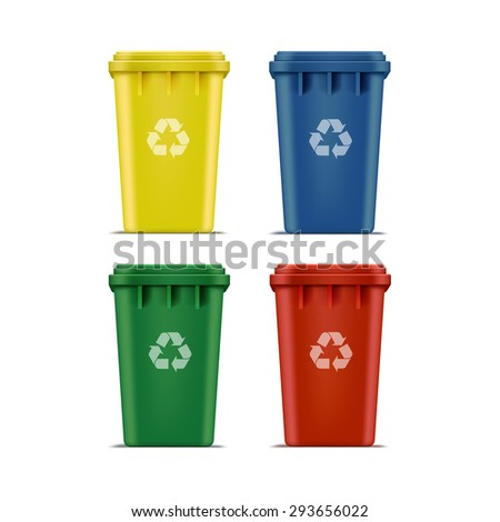 Set Recycle Bins for Trash and Garbage Isolated on White Background - stock photo