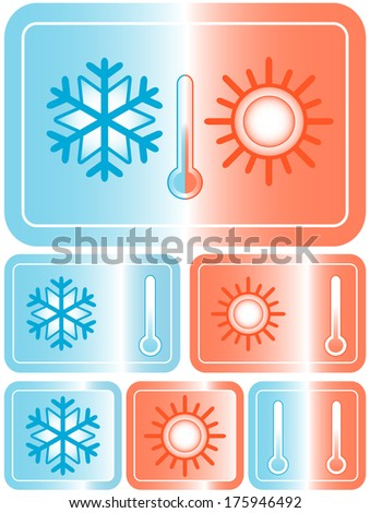 set red and blue weather icons with sun, snowflake and thermometer - stock photo