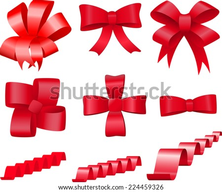 Set red bows and ribbons for decoration and design - stock photo