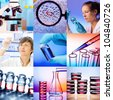 Set  research, laboratory,  science and genetics - stock photo