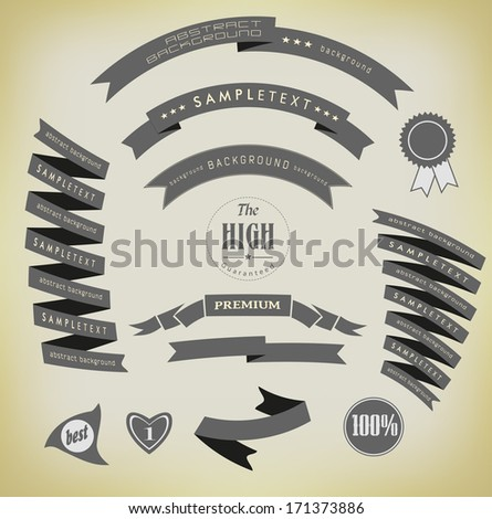 set retro ribbons and label - stock photo