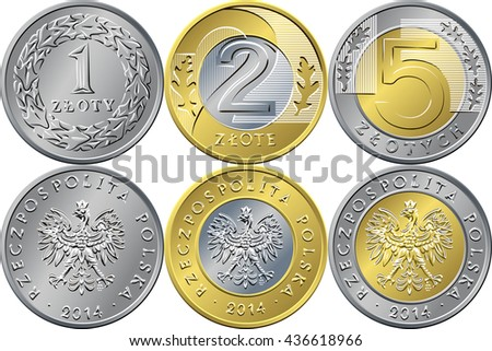 SET reverse and obverse Polish Money one, two and five zloty gold and silver coins with Value and eagle in golden crown - stock photo