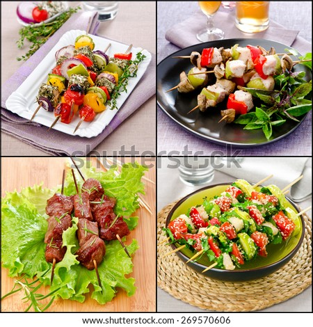 set shashlik skewers barbecue on a stick for picnic or holiday vegetarian and meat - stock photo