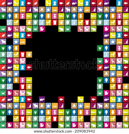 Set silhouettes of animals in Trendy Flat Style. Square frame for text. Black background.  - stock photo