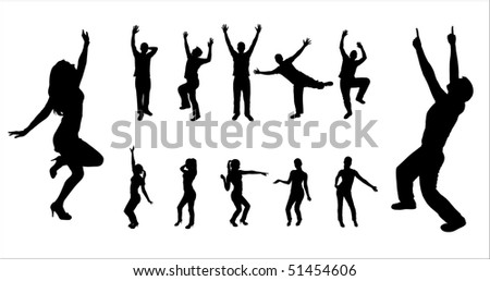 Set silhouettes of dancing boys and girls