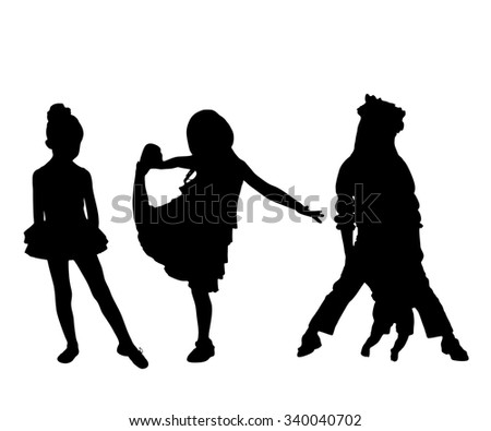 Set silhouettes of little cute girl isolated on white