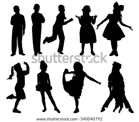 Set silhouettes of little cute girls and boy isolated on white - stock photo