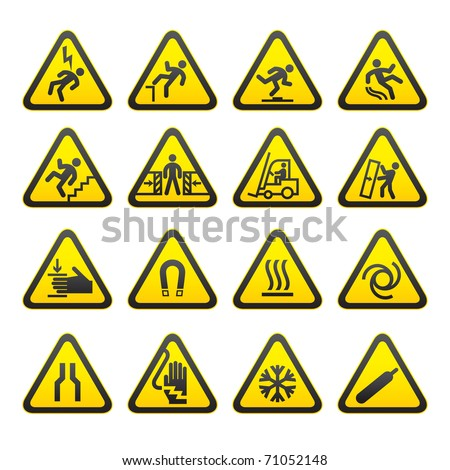 Set Simple of Triangular Warning Hazard Signs. Bitmap copy my vector ID 60338644 - stock photo