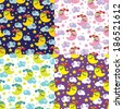 Set simple seamless patterns about the night.Ornament of sleeping moon,clouds and stars. Four colors. Children  illustration.For fabrics,Wallpaper,packaging,background. - stock photo