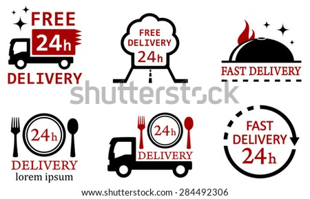 set six isolated icons for delivery food services - stock photo