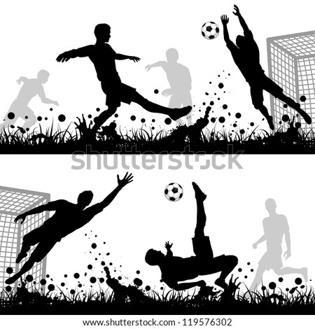 Set Soccer Silhouettes Players and Goalkeeper, isolated on white background, illustration - stock photo