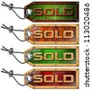 Set Sold Tags on White Background / Wooden grunge tags with steel cable and written sold - stock photo
