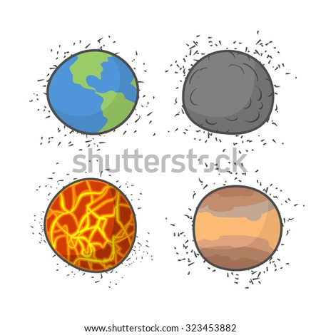 Set space planets and stars on a white background.    - stock photo