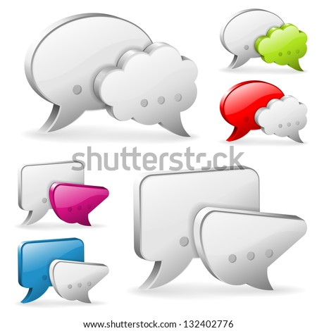 Set Speech and Thought Bubbles, social media concept, illustration - stock photo