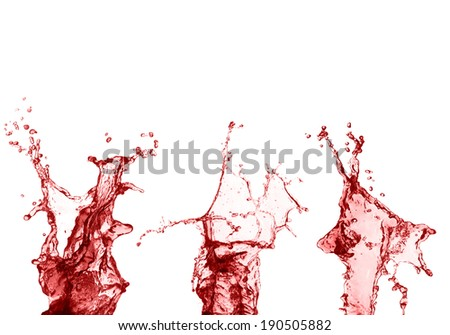 Set splash of red juice isolated on white background