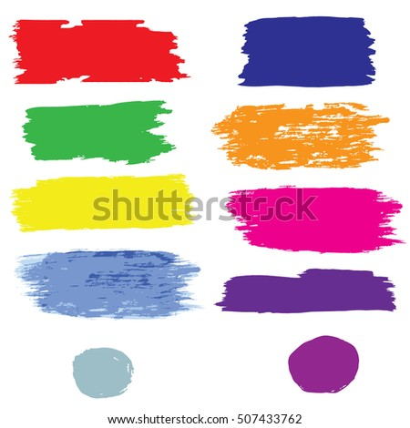 set stains strokes colorful abstract watercolor grunge style isolated on white background design element