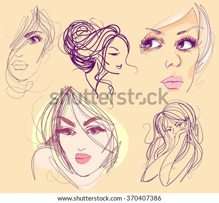 set  stylish  original hand-drawn graphics portrait  with beautiful young attractive girl model for design. Fashion, style,    beauty . Graphic, sketch drawing. Sexy  woman